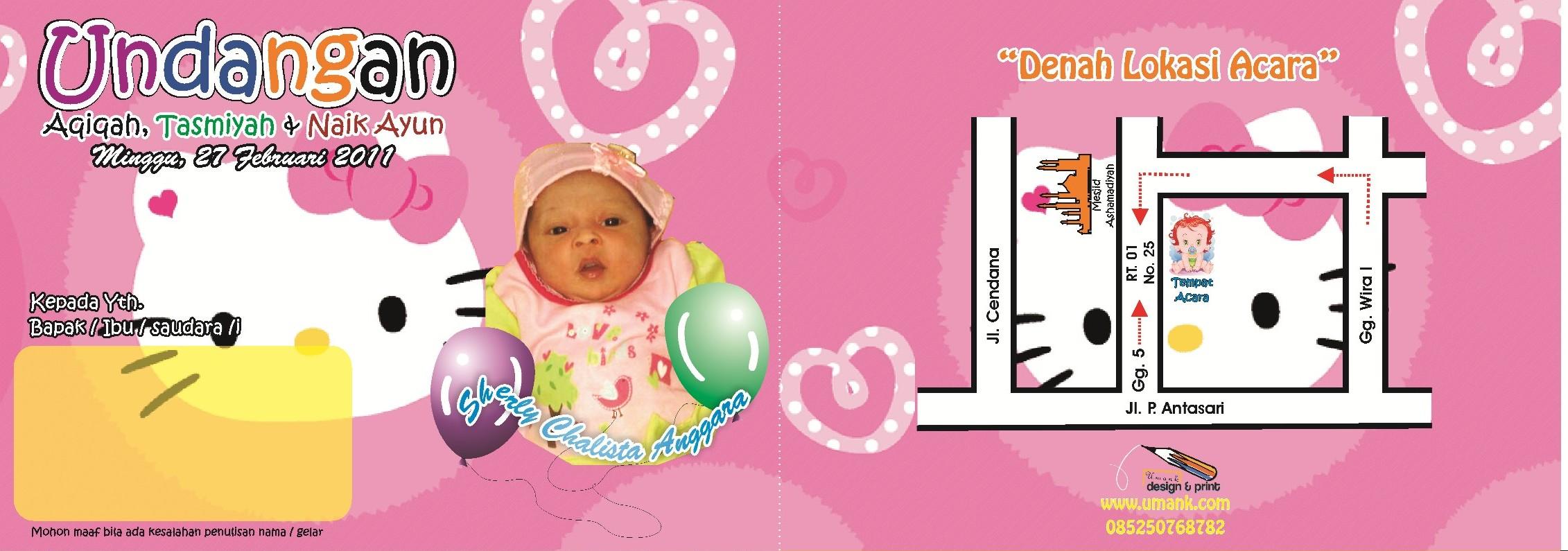 Undangan Tasmiyah Chalisa (Tema: Hello Kitty)